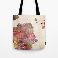 san francisco Tote Bags featuring San Francisco map by MapMapMaps.Watercolors