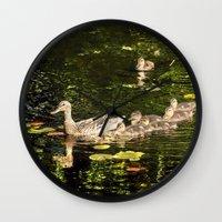 ducks Wall Clocks featuring Ducks by LudaNayvelt