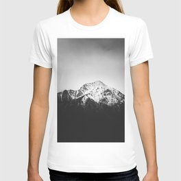 Black and white snowy mountain T-shirt