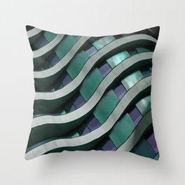Urban Curves and Lines Abstract Art In French Blue And Grey Throw Pillow