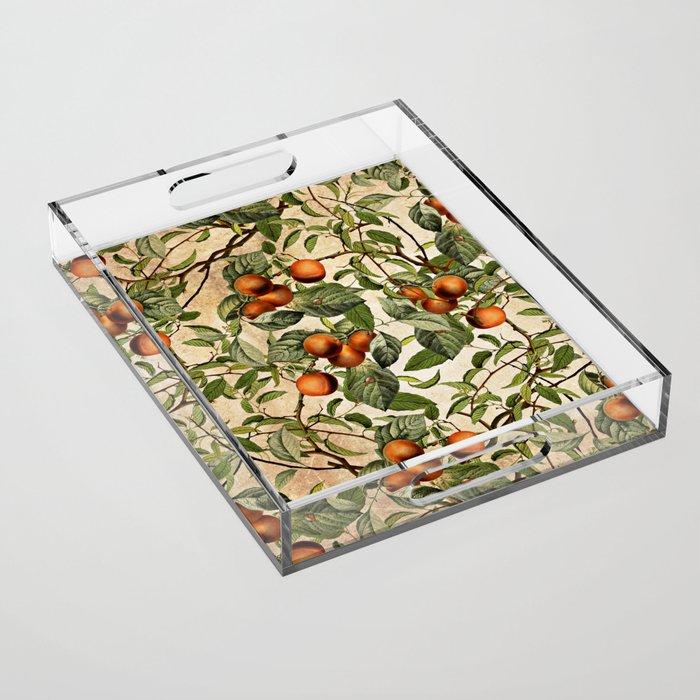 Vintage Fruit Pattern Acrylic Tray