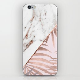 Rose gold marble & tropical ferns iPhone Skin