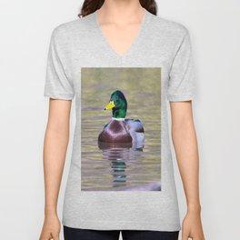 Male Mallard Duck Unisex V-Neck