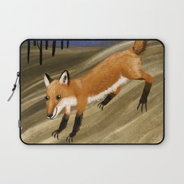 Happy fox in a field at night Laptop Sleeve