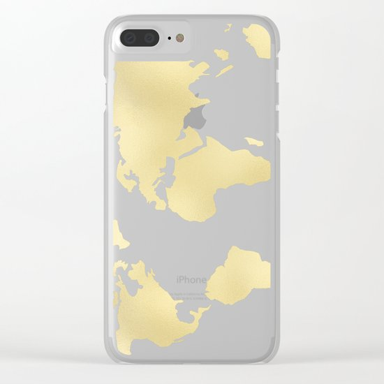 World Map Marble Gold Rush Clear iPhone Case