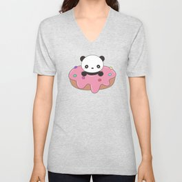 Kawaii Cute Panda Donut Unisex V-Neck