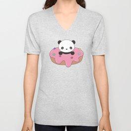 Kawaii Cute Panda Donut Unisex V-Neck