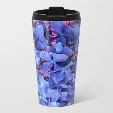 BLUE ABSTRACTED HYDRANGEA YELLOW-PINK Metal Travel Mug