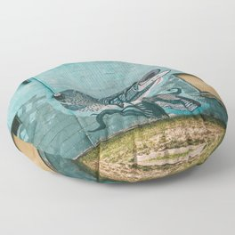 One Fish, Teal Fish Floor Pillow