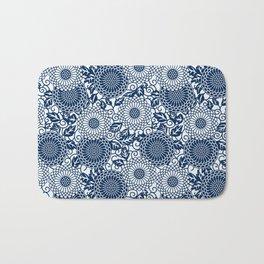 japanese blue flower pattern Bath Mat