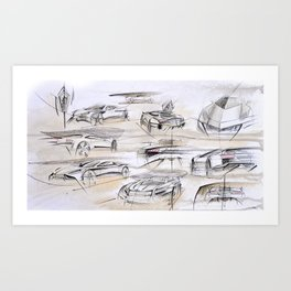 Cardesign Sketch Artwork Art Print