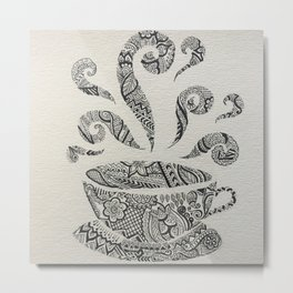 But first, Tea - tea coffee lover zentangle Metal Print