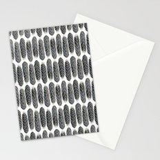 Black Stripe Feather Pattern Stationery Cards