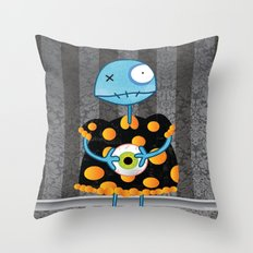 Little Lulu Unzicker with Her Favorite Pet Eye. Throw Pillow