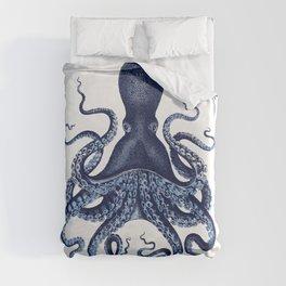 Watercolor blue vintage octopus Duvet Cover
