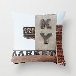 Vintage Neon Sign - KY Market - Tucson Arizona Throw Pillow