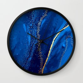 Blue watercolor liquid 2020 Wall Clock