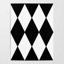 LARGE BLACK AND WHITE HARLEQUIN DIAMOND PATTERN Poster