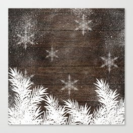 Winter white snow pine trees brown rustic wood Christmas Canvas Print
