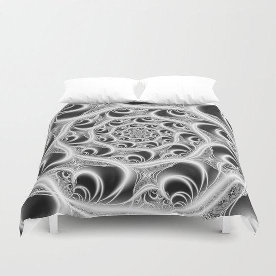 Fractal Web White on Black Duvet Cover