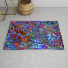 Floral Abstract Stained Glass G174 Rug