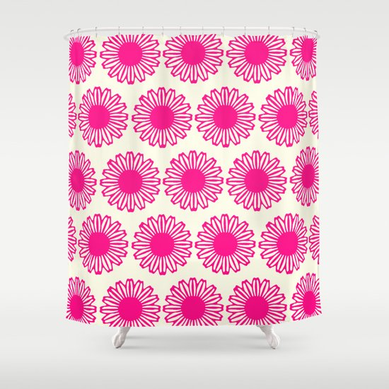 vintage flowers pink  Shower Curtain