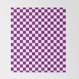 Small Checkered - White and Purple Violet Throw Blanket