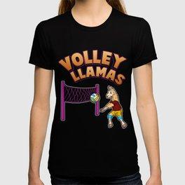 Volley Llama Present Volleyball Sport Team Women Gift T-shirt
