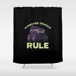 Awesome Monster Trucks Rule Funny Trucks Gift Shower Curtain