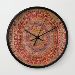 Bohemian Medallion III // 15th Century Old Distressed Red Green Purple Lavender Ornate Rug Pattern Wall Clock