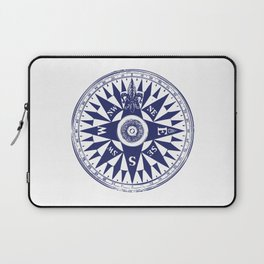 Nautical Compass | Vintage Compass | Navy Blue and White | Laptop Sleeve