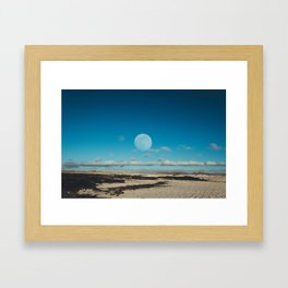 landscape of big moon in the sand stone desert. nature scenic poster. Framed Art Print