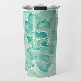 Watercolor Succulent print in seafoam green Travel Mug