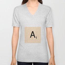Letter A Scrabble Art Unisex V-Neck