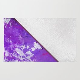 Abstract violet lilac white watercolor paint splatters Rug