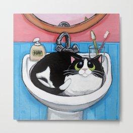 Sink Cat Metal Print