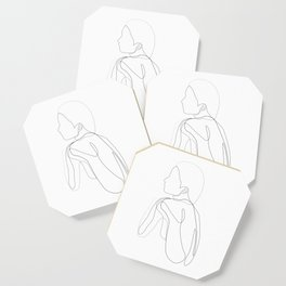 shelter - single line drawing of women's back Coaster