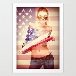 Sexy Flag Americana Girl Art Print