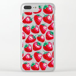 Red Strawberry pattern on black Illustration Clear iPhone Case