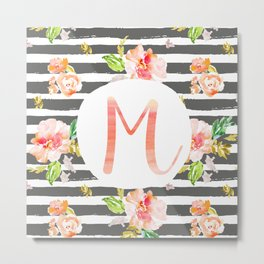 M botanical monogram. Letter initial with colorful flowers and gray stripes Metal Print
