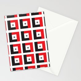 Red & Black L7 Squares Stationery Cards