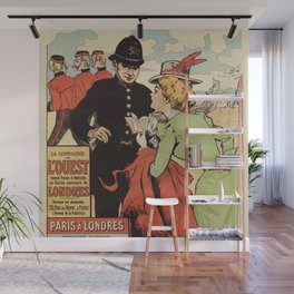 Paris to London vintage railways advertisement Wall Mural