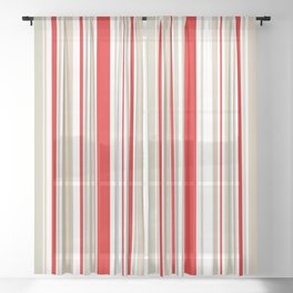 Nautical Red and White Stripe Sheer Curtain