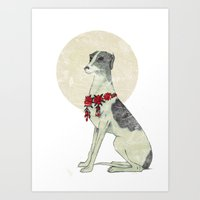 greyhound Art Prints featuring GREYHOUND by HOLO-HOLO