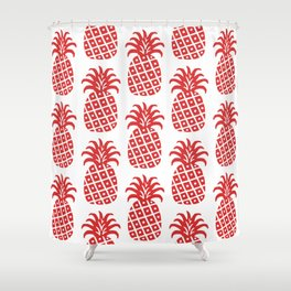 Retro Mid Century Modern Pineapple Pattern Red Shower Curtain