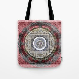 Rose Pink and Gentle Grey (gray) Tibetan Boho Mandala Print Tote Bag