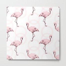 Mod Flamingos on Flamingo Pink Infinity Link Metal Print