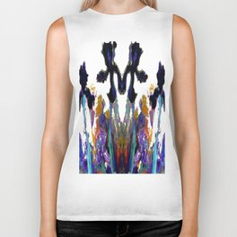 Black Iris on Yellow Painting Biker Tank