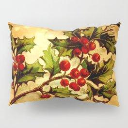 Christmas Holly, Vintage Botanical Illustration Collage Pillow Sham