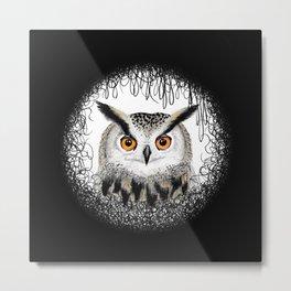 Hand Drawn Eagle Owl Mandala Metal Print